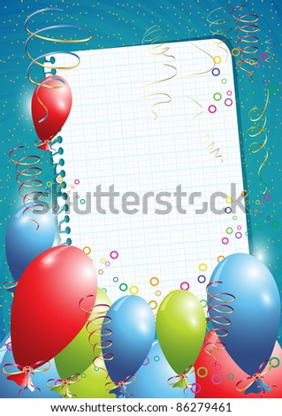 Blue birthday background with balloons and empty paper, eps10 vector illustration - stock vector
