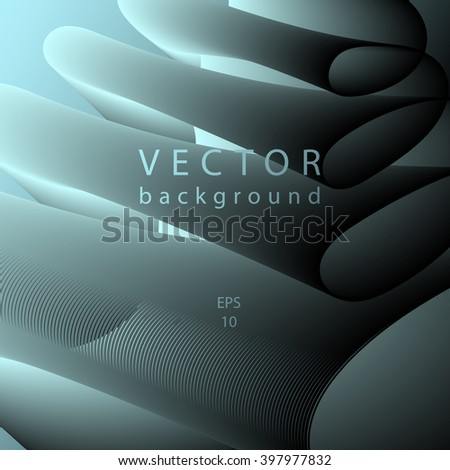 Blue black abstract vector background.Blue smooth twist light lines background. Creative illustration. - stock vector