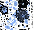 blue, black and white repeating floral pattern - stock vector