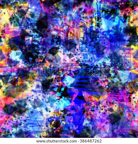 Blue, black, purple and orange colors. Complicated seamless vector pattern. The chaotic interweaving of stains and scratches. Asymmetry. Scribble. Easy editable. Grunge - stock vector