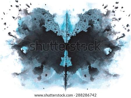 blue - black watercolor symmetrical Rorschach blot on a white background - stock vector