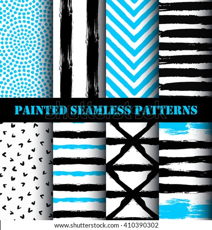Blue black white painted seamless patterns set. Distress texture and grunge design.  Striped chevron and circle ornaments. Grunge paint backgrounds. Vector wallpaper or fabric print from brush strokes - stock vector