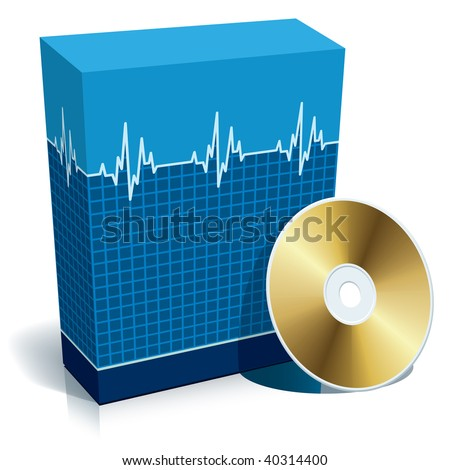 Blue blank 3d box with medical software and CD. - stock vector