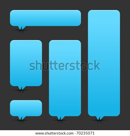 Blue blank speech bubble dialog with shadow and reflection on gray background - stock vector