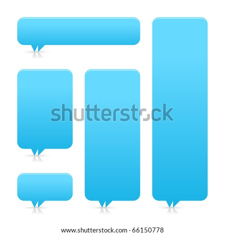 Blue blank speech bubble dialog with shadow and reflection on white background - stock vector