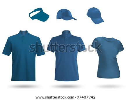 Blue blank unisex uniform template: polo, t-shirt, visor and baseball caps. - stock vector