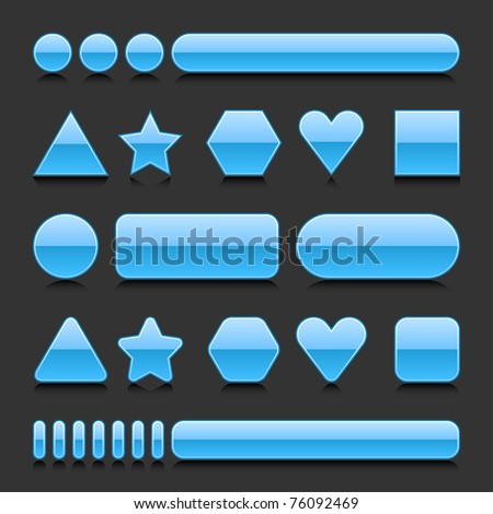 Blue blank web 2.0 geometric shape button metal various form with black reflection on gray background - stock vector