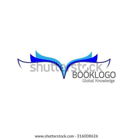 Blue book logo on white background : Education concept vector - stock vector