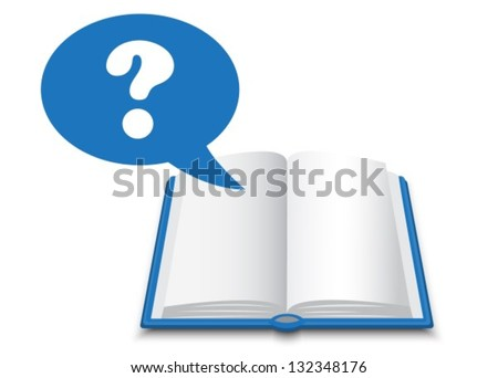 blue book with white pages and a dialogue bubble with a question mark - stock vector