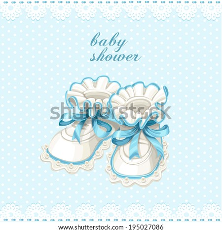 Blue booties baby shower card - stock vector