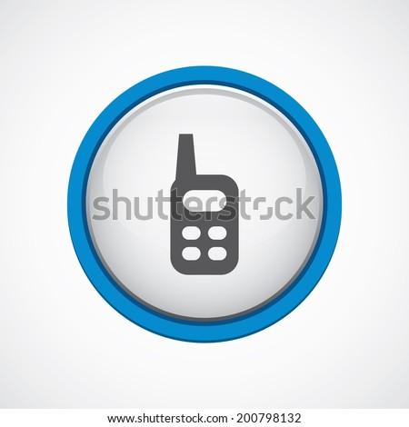 blue bordered circle radio icon - stock vector