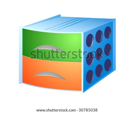 Blue box for documents with two partitions. - stock vector