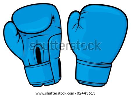 blue boxing gloves - stock vector