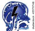 blue brain with black lightning sign - stock photo