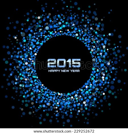 Blue Bright New Year 2015 Background, vector illustration - stock vector
