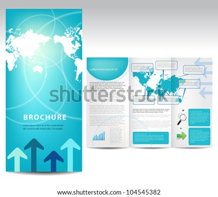 Blue brochure design, vector - stock vector