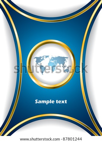 Blue brochure design with world map and shadows - stock vector
