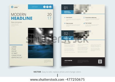 Blue Brochure Modern Cover Design Corporate Business Template For Annual Report Catalog Or Magazine