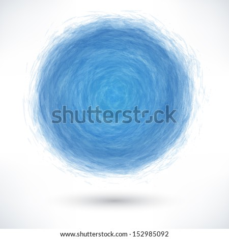 Blue brush stroke in the form of a circle with gray drop shadow on white background. Drawing created in ink sketch handmade technique. Vector illustration clip-art design element save in 10 eps - stock vector