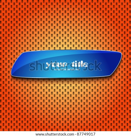 blue bubble sign on orange texture - stock vector