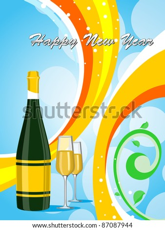 blue bubbles background ,colorful strips with champange bottle,glass - stock vector