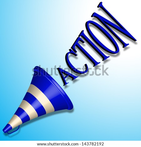 blue bullhorn icon and action command shadowed over blue background, abstract vector art illustration, image contains transparency - stock vector