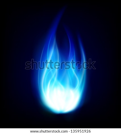 blue burning fire flame background - stock vector