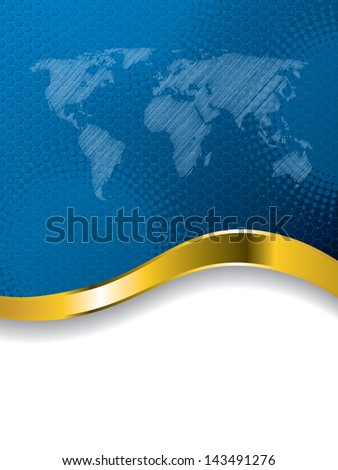 Blue business brochure design with  world map and gold wave - stock vector