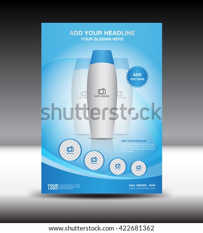 Blue business brochure flyer design layout template in A4 size,Poster,leaflet,Advertising Template. booklet,magazine ads cosmetic package - stock vector