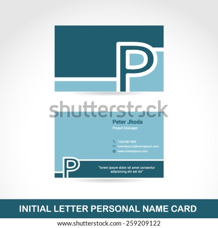 Blue Business cards template with Letter P. Vector flat design. Easy to modify with your own name & company. - stock vector