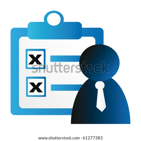 blue business check table and businessman icon isolated on white background - stock vector