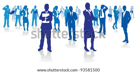 blue business people - stock vector