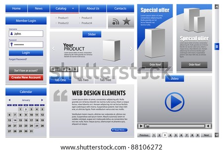 Blue Business Web Design Elements Version 2: Menu, Navigation Bar, Slider, Banners, Video Player, Calendar, Tabs, Login Form, Scroller, Pagination - stock vector