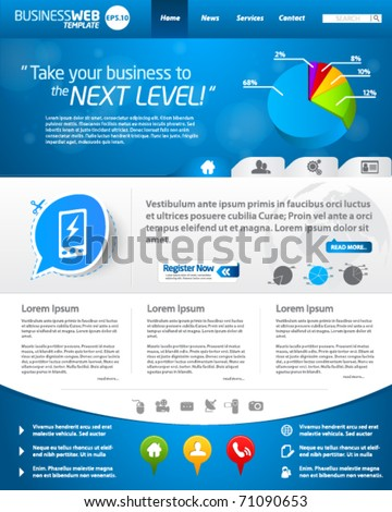 Blue business web template layout - stock vector
