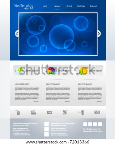 Blue business web template layout with bubble slider - stock vector