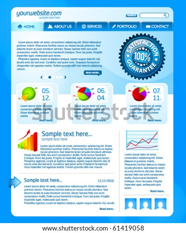 Blue business website template 2 - stock vector
