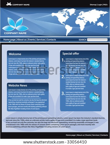 Blue business website template. All editable vector elements. - stock vector