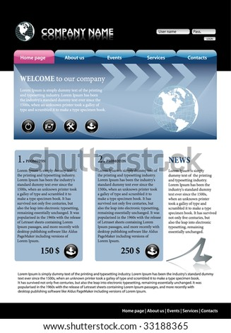 Blue business website template. All editable vector elements. # 1 - stock vector