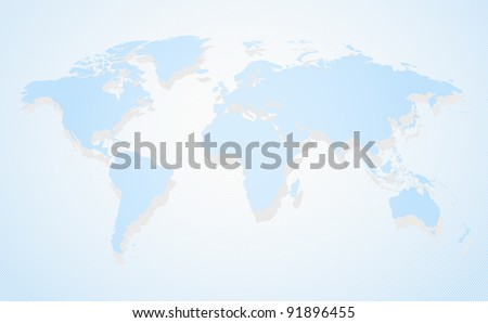 Blue business world map a perspective view and shadow - stock vector