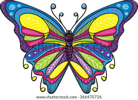 Blue butterfly - stock vector