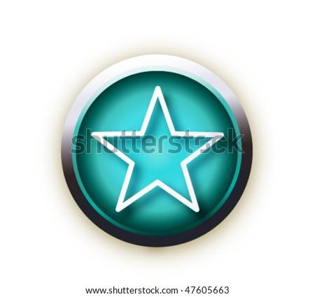 blue button vector star - stock vector