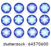 Blue buttons with snowflakes on a white background - stock vector