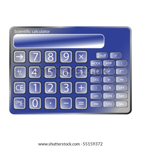 blue calculator against white background, abstract vector art illustration - stock vector