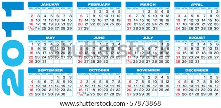 Blue Calendar for 2011, in vector format. American style (Week starts on Sunday). - stock vector