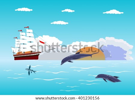 Blue calm sea and ship with white sails on horizon, dolphins, fishes - stock vector