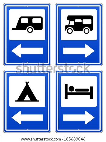 Blue Camp Sign - stock vector