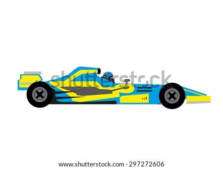 blue car f1 - stock vector