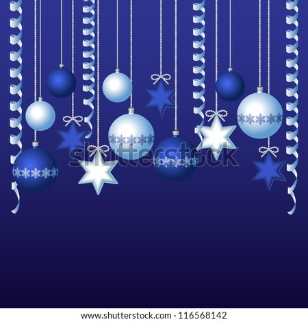 Blue card with christmas balls, vector illustration