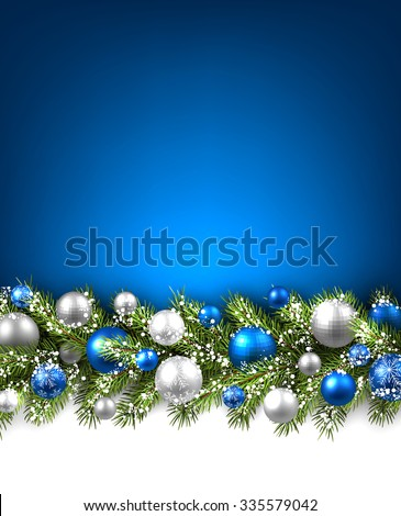 Blue card with fir branch and balls. Vector paper illustration. - stock vector