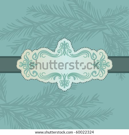 blue card with pine branch - stock vector